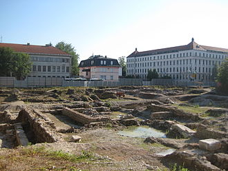 Excavations at the building site of the planned new National and University Library of Slovenia. One of the discoveries was an ancient Roman public bath house. Emona3.JPG