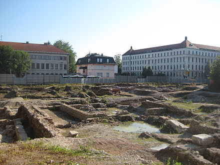 Excavations at the building site of the planned new National and University Library of Slovenia. One of the discoveries was an ancient Roman public bath house.[32]
