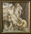 En satyr, en menad och tvenne fauner, sysselsatta med att dra ut en sticka (Carl Gustaf Klingstedt) - Nationalmuseum - 118109.tif