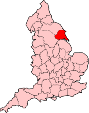 History of the East Riding of Yorkshire - The administrative county, shown with borders from 1965–1974 (Hull not indicated).