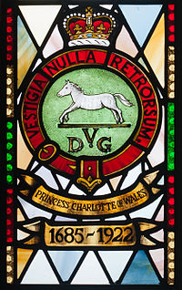 Enniskillen Cathedral of St. Macartin North Aisle Royal Inniskilling Dragoons Window Detail Insigna 1685-1922 2012 09 17.jpg
