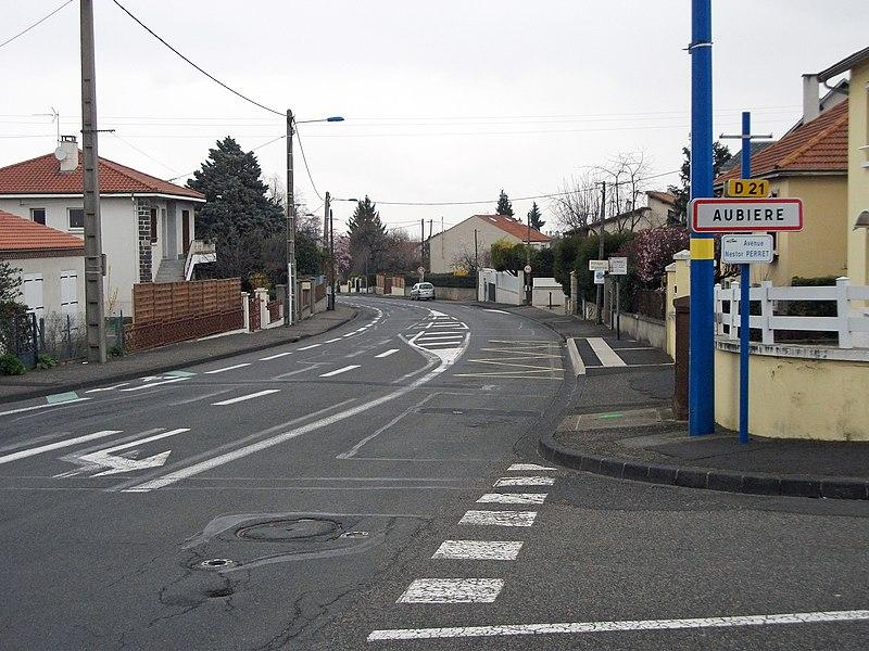 Entrance of Aubière from Romagnat in departmental road 21, Puy-de-Dôme, France