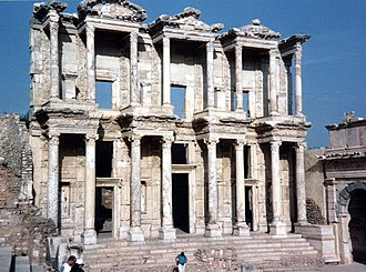 Aedicula - Front of Celsus Library with aediculae in Ephesus.