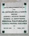 Erminia Fuà Fusinato plaque (Rovigo).png