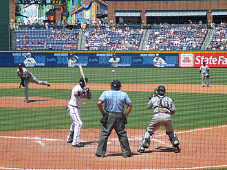 Base on balls - Mark Hendrickson of the Florida Marlins intentionally walking the Atlanta Braves' Yunel Escobar in 2008. Note the Florida catcher, Mike Rabelo, in a standing position behind the opposite batter's box to receive the pitch