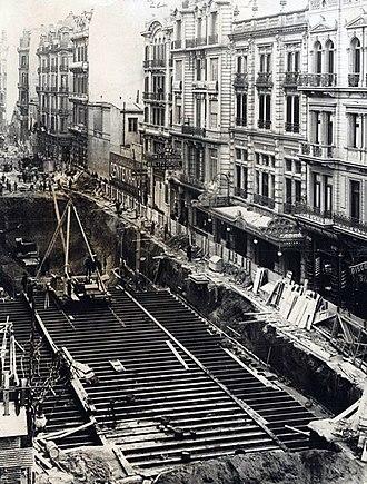 Anglo-Argentine Tramways Company - Image: Estación Piedras en construcción