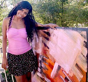 English: Esther photo w/painting