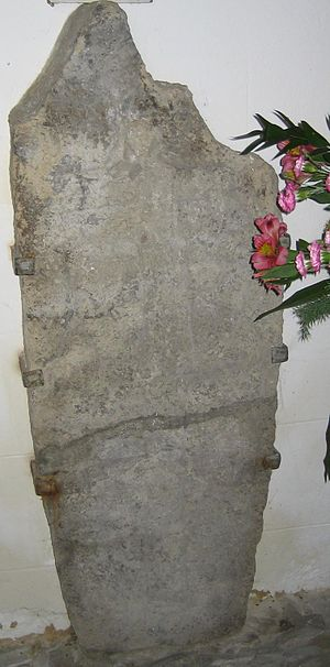 Steyning - Ethelwulf's tombstone, in the church porch – the two incised crosses indicate a royal burial