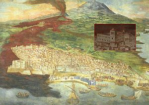 Monastery of San Nicolò l'Arena - Catania and the monastery surrounded by the lava during the 1669 eruption in Giacinto Platania's fresco.