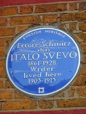 Italo Svevo - Blue plaque at 67 Charlton Church Lane, Charlton, London SE7 7AB, London Borough of Greenwich