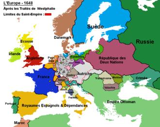 Carte représentant l'Europe après la paix de Westphalie