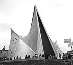 Iannis Xenakis - The Philips Pavilion at the time of the exhibition. Design by Xenakis