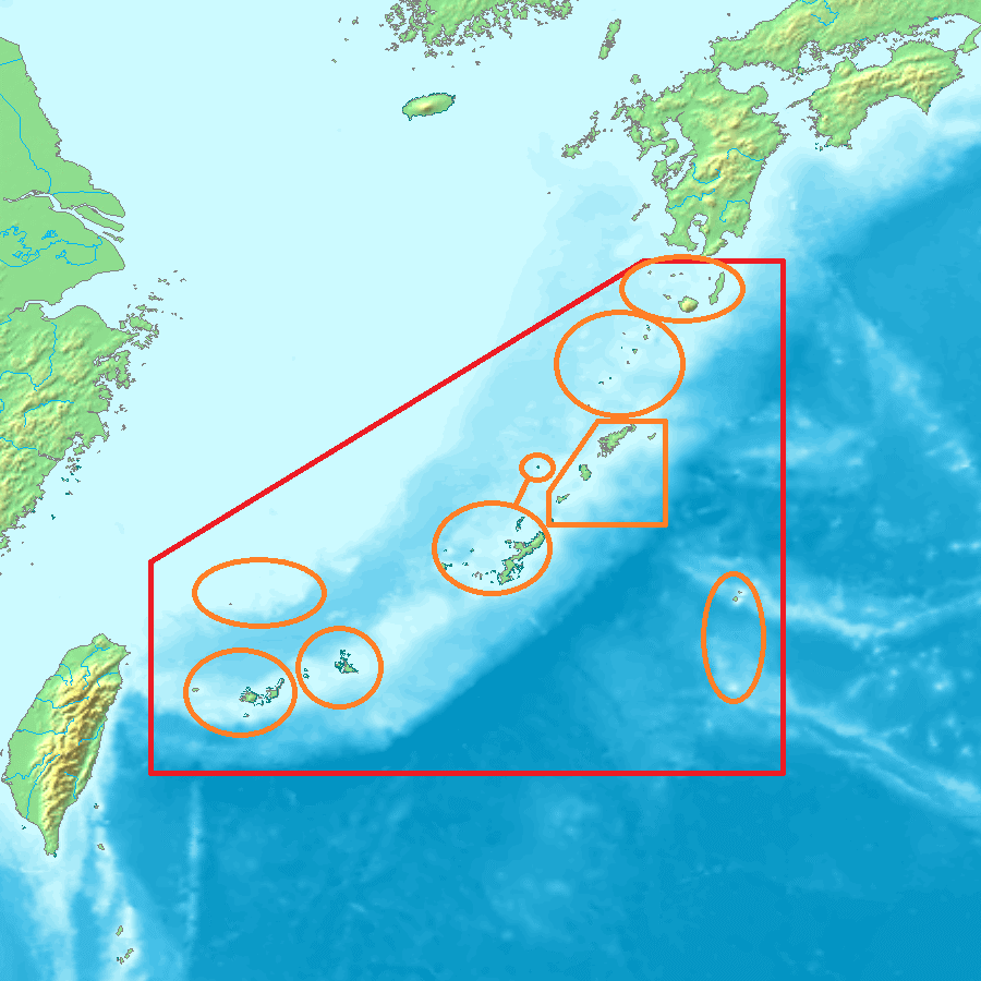Extents of the islands and the archipelagos in the southwest of Japan