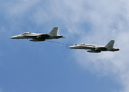 F/A-18s buddy-refueling. - Aerial refueling