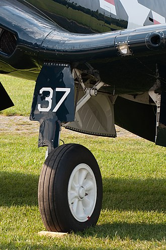 Vought F4U Corsair - Landing gear on an F4U-4 Corsair.