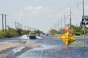 Farm to Market Road 1847 - FM 1847 flooded following Hurricane Dolly in July 2008