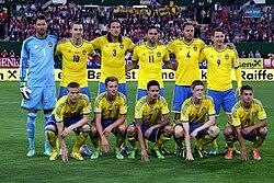 Svenska landslaget vid 1-2-förlusten mot Österrike. 4a20869cadbf2