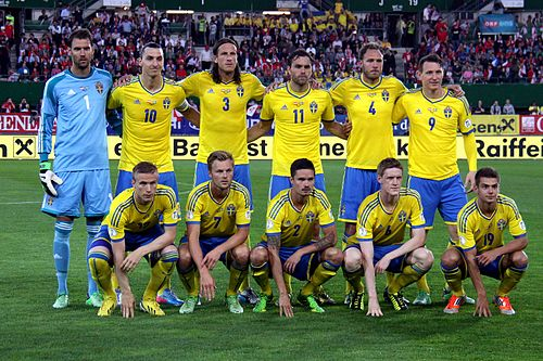 The Swedish team before playing against Austria in 2013 during the 2014 FIFA World Cup qualifiers.
