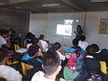 FLISOL 2014 en la Prepa Próceres de la Educación, Chicoloapan, Estado de México, México, platica sobre wikimedia 2.JPG
