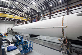 Falcon 9 first stage in SLC-40 hangar - CRS-2 (KSC-2012-6536).jpg