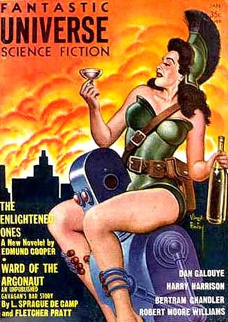 "L. Sprague de Camp - A de Camp-Pratt ""Gavagan's Bar"" story was cover-featured on the January 1959 issue of Fantastic Universe"