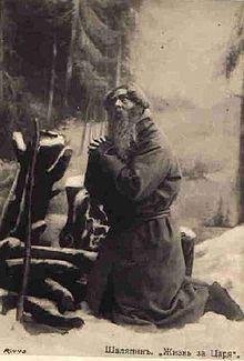 Feodor Chaliapin nel ruolo di Ivan Susanin in preghiera nell'opera A Life for the Tsar