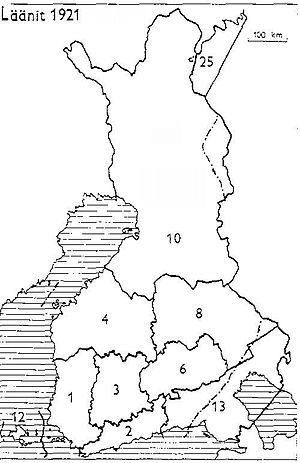 Lapland (former province of Finland) - Provinces of Finland 1921: 1: Turku and Pori, 2: Uusimaa, 3: Häme, 4: Vaasa, 6: Mikkeli, 8: Kuopio, 10: Oulu, 12: Åland, 13: Viipuri, 25: Petsamo