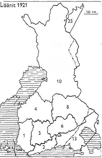 Petsamo Province - Provinces of Finland 1921: 1: Turku and Pori, 2: Uusimaa, 3: Häme, 4: Vaasa, 6: Mikkeli, 8: Kuopio, 10: Oulu, 12: Åland, 13: Viipuri, 25: Petsamo