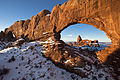 First Light on Turret Arch Framed by North Window - Wide (8390477068).jpg