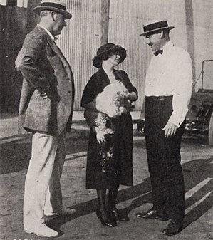Elmer Blaney Harris - Director Maurice Campbell, Constance Binney, and Elmer Blaney Harris during production of First Love (1921)