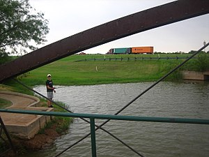 Iowa Park, Texas - A young fisherman at Gordon Lake in Oscar Park (Summer 2008)