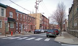 1500 block of E. Berks Street, a typical residential street in Fishtown, in 2007 in the Bridesburg-Kensington-Richmond planning district