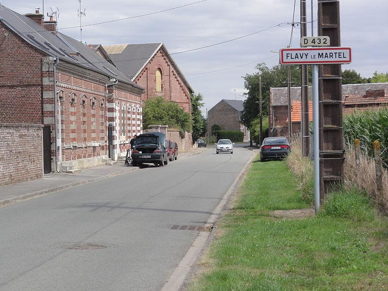 Flavy-le-Martel (Aisne) city limit sign