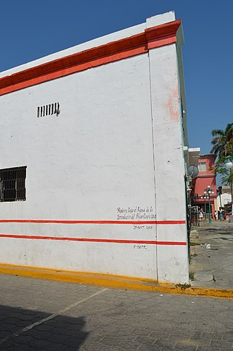 Tlacotalpan - House in the town showing levels of flooding in 2010