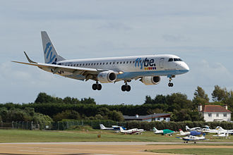 Jersey Airport - Flybe aircraft landing at Jersey
