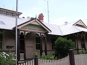 Forbes, New South Wales - Lands Office at Forbes built 1898; an all timber building in the Federation style
