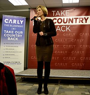 Carly Fiorina presidential campaign, 2016 - Carly Fiorina introduced her campaign platform at a town hall before the 2016 Iowa caucuses