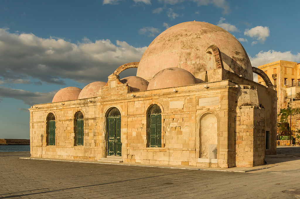 Former mosque harbour Chania evening sun