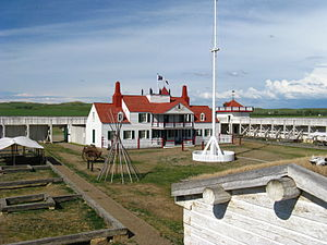 Fort Union Trading Post National Historic Site - View inside Fort Union from the Southwest bastion looking towards the Bourgeois (manager's) house.