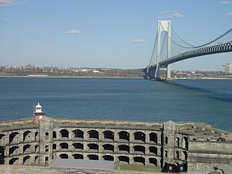 Fort Wadsworth - Battery Weed at Fort Wadsworth (foreground) on the Narrows, under the Verrazano-Narrows Bridge