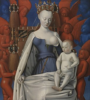 Jean Fouquet - La Verge amb el Nen:  - Right wing of Melun Diptych; Virgin and Child Surrounded by Angels, showing Charles VII's mistress Agnès Sorel (c.1450). Wood, 93 x 85 cm, Royal Museum of Fine Arts, Antwerp, Anvers