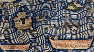 Cape of Good Hope - Detail of the Fra Mauro Map describing the construction of the junks that navigate in the Indian Ocean.