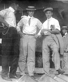 Frank T. Coffyn, A. Roy Knabenshue, and Walter Brookin (July 1910).jpg