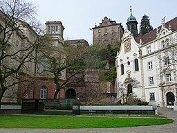Friedrichsbad Neues Schloß und Kirche der Klosterschule vom Heiligen Grab in Baden Baden