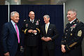 From left, Secretary of Defense Chuck Hagel, Chief of Staff of the Army Gen. Raymond T. Odierno, Secretary of the Army John McHugh and Sgt. Maj. of the Army Raymond F. Chandler III share a laugh before a cake 130613-A-AO884-016.jpg