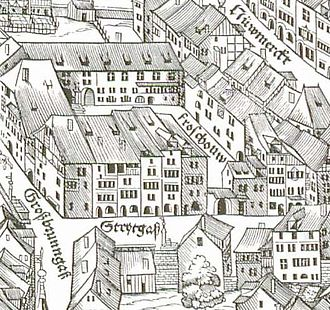 Christoph Froschauer - The  Froschau quarter in Zürich, as shown on the 1576 Murerplan, printed by Christoph Froschauer the Younger.