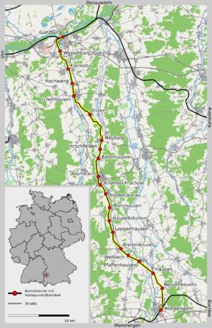 Central Swabian Railway - Image: Günzburg Mindelheim