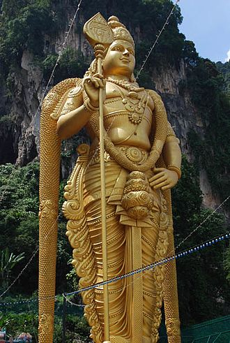 Vel - Murugan statue with Vel at Batu Caves, Malaysia
