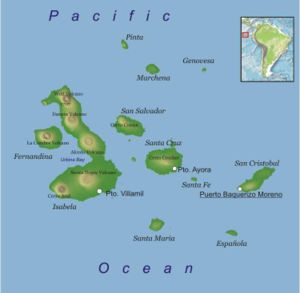 Map of Galapagos Islands (Ecuador, South America)