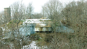 Fort Ruckman - One of the two 12-inch gun positions and a fire control tower (at left) for Battery Gardner at Ft. Ruckman.